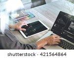 businessman hand attending... | Shutterstock . vector #421564864