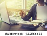 side view of business man... | Shutterstock . vector #421566688
