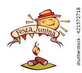 brazilian festa junina party... | Shutterstock .eps vector #421572718