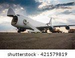 unloading wide body cargo... | Shutterstock . vector #421579819