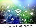 modern cityscape and wireless... | Shutterstock . vector #421583929