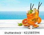 refreshing lemonade with... | Shutterstock . vector #421585594