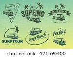 set of vintage surfing car... | Shutterstock .eps vector #421590400