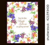 invitation with floral... | Shutterstock . vector #421593430