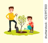 father and son planting a tree. ... | Shutterstock .eps vector #421597303