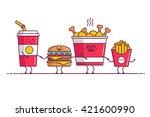 fast food  chicken  soda ... | Shutterstock .eps vector #421600990