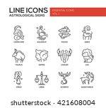 set of modern vector plain line ... | Shutterstock .eps vector #421608004