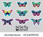 sticker set of butterflies... | Shutterstock .eps vector #421609033
