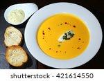 macro delicious yellow cream... | Shutterstock . vector #421614550
