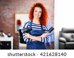 professional hairdresser with... | Shutterstock . vector #421628140