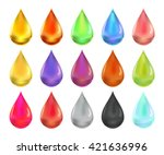 oil drop set  collection of oil ... | Shutterstock .eps vector #421636996