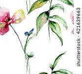 stylized flowers watercolor... | Shutterstock . vector #421639663