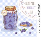 cute jar of blueberry jam  hand ... | Shutterstock .eps vector #421639900