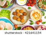 table served with middle... | Shutterstock . vector #421641154