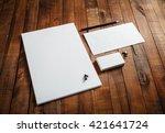 blank stationery set on wooden... | Shutterstock . vector #421641724