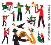 jazz musicians   vector... | Shutterstock .eps vector #421653619