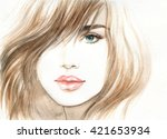 woman portrait with coat.... | Shutterstock . vector #421653934