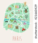 paris illustration map   Shutterstock .eps vector #421660429