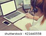 close up asian call centre... | Shutterstock . vector #421660558