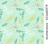seamless pastel leaves pattern... | Shutterstock .eps vector #421660579
