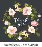 greeting thank you card floral... | Shutterstock .eps vector #421660630