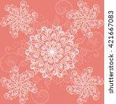 white floral motives pattern.... | Shutterstock .eps vector #421667083