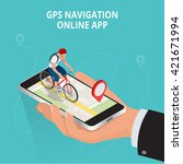 mobile gps navigation  travel... | Shutterstock .eps vector #421671994