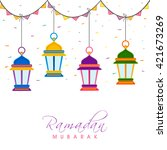 colourful traditional arabic... | Shutterstock .eps vector #421673269