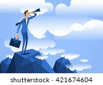 businessman looking through... | Shutterstock .eps vector #421674604