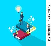 business man reading books... | Shutterstock .eps vector #421674640