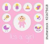its a girl.  baby girl shower... | Shutterstock . vector #421675618