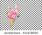 cherry tree flowers in ice... | Shutterstock . vector #421678054