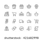 simple set of shopping related... | Shutterstock .eps vector #421682998