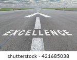 runway of airport with arrow... | Shutterstock . vector #421685038