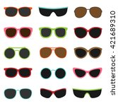 different sun glasses on white... | Shutterstock .eps vector #421689310