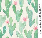 seamless watercolor cactus... | Shutterstock . vector #421690093