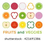 various of sliced fruits and...   Shutterstock .eps vector #421691386