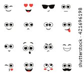 smiley faces isolated on white. ... | Shutterstock . vector #421696198