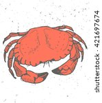 vintage graphic with crab  ... | Shutterstock .eps vector #421697674