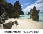 private rocky getaway at banol... | Shutterstock . vector #421698100