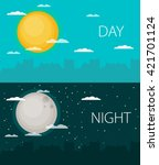 day and night vector... | Shutterstock .eps vector #421701124