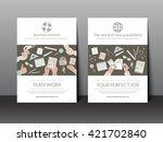 set of business brochure flyer... | Shutterstock .eps vector #421702840