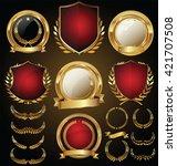 vector medieval golden shields... | Shutterstock .eps vector #421707508