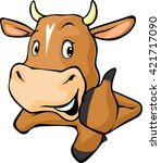 funny cow peeks out from behind ... | Shutterstock .eps vector #421717090