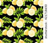 lemons set.watercolor juicy... | Shutterstock . vector #421718650