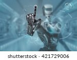 mechanical robotic arm touching ... | Shutterstock . vector #421729006