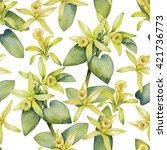 watercolor vanilla flowers.... | Shutterstock . vector #421736773