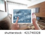 smart home control on tablet.... | Shutterstock . vector #421740328