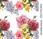2 roses and pansies pattern on... | Shutterstock . vector #421751353