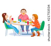 the children who eats lunch | Shutterstock .eps vector #421753534